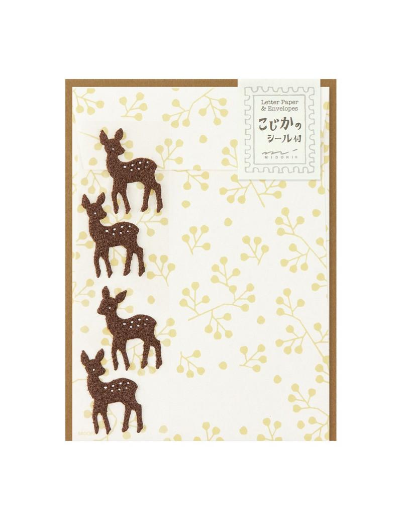 Lot de papier à lettre + enveloppes + stickers - Faon - Midori