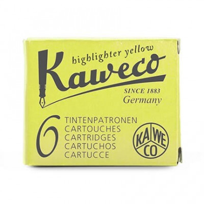 6 cartouches d'encre - Jaune Fluo - Highlighter Yellow - Kaweco